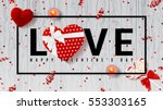 Web banner for Valentine's Day. Top view on composition with lollipop, gift box, case for ring, candles and confetti. Candy in the form of heart isolated on wooden texture. Vector illustration.  | Shutterstock vector #553303165