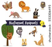 nocturnal animals cartoon on... | Shutterstock .eps vector #553306495
