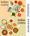 balkan cuisine icon set of meat ... | Shutterstock .eps vector #553310251