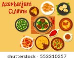 azerbaijani cuisine dinner with ... | Shutterstock .eps vector #553310257