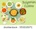 bulgarian cuisine dinner dishes ... | Shutterstock .eps vector #553310371