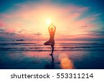 Silhouette Yoga Girl On The...