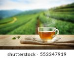tea cup with and tea leaf... | Shutterstock . vector #553347919