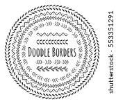 set of doodle borders ... | Shutterstock .eps vector #553351291