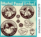 label set of chef and halal... | Shutterstock .eps vector #553356979