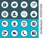 set of 16 simple contact icons. ... | Shutterstock .eps vector #553357204