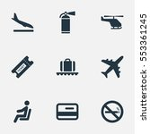 set of 9 simple airport icons.... | Shutterstock .eps vector #553361245
