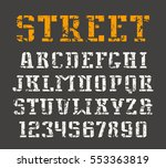stencil plate serif font and... | Shutterstock .eps vector #553363819