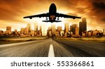airplane landing with landscape ... | Shutterstock . vector #553366861