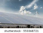 clean energy against a blue sky ... | Shutterstock . vector #553368721