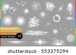 isolated white sparks. glow... | Shutterstock .eps vector #553375294