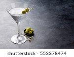 Martini Cocktail On Dark Stone...