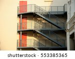 fire escape ladder in the... | Shutterstock . vector #553385365