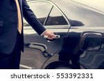 businessman handle limousine... | Shutterstock . vector #553392331