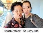 selfie senior woman with... | Shutterstock . vector #553392685