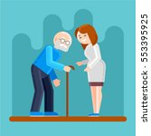 caring for seniors  helping... | Shutterstock .eps vector #553395925