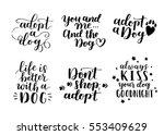 dog adoption hand written... | Shutterstock .eps vector #553409629