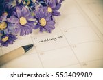 reminder wedding day in calendar | Shutterstock . vector #553409989