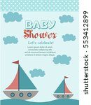 nautical baby shower card... | Shutterstock .eps vector #553412899