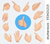 set of realistic hands in... | Shutterstock .eps vector #553421215