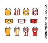 cinema popcorn bucket minimal... | Shutterstock .eps vector #553427365