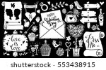 valentines day hand drawn ... | Shutterstock .eps vector #553438915