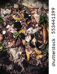 Small photo of Organic waste taken from above brown colours. Bio-waste with pieces of eggs, vegetables and other food in decomposition.