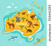 australian map with wildlife... | Shutterstock .eps vector #553442395