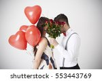 bouquet of red roses covering... | Shutterstock . vector #553443769