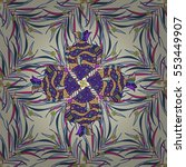vintage pattern on mandala... | Shutterstock . vector #553449907