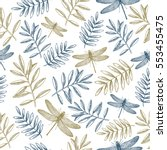 floral seamless pattern. linear ... | Shutterstock .eps vector #553455475