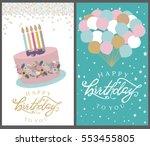 happy birthday card set.... | Shutterstock .eps vector #553455805