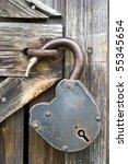 Old Unlocked Padlock On The...