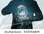 double exposure of businessman... | Shutterstock . vector #553456849