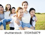 happy young  group having fun... | Shutterstock . vector #553456879
