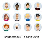 set of diverse round avatars... | Shutterstock .eps vector #553459045