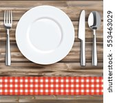 knife  fork  spoon and plate... | Shutterstock .eps vector #553463029