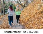 blonde and african sportswomen...   Shutterstock . vector #553467901