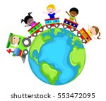 colored toy train going around... | Shutterstock .eps vector #553472095