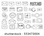 set of hand drawn sketchy post... | Shutterstock .eps vector #553473004