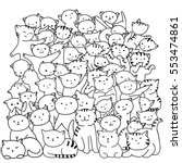 Doodle Cats Pile. Black And...