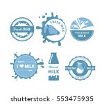 milk logo and labels set in... | Shutterstock .eps vector #553475935