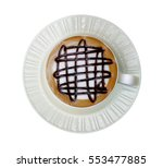 top view of hot coffee mocha... | Shutterstock . vector #553477885