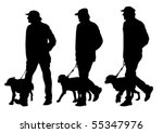 Stock vector vector image of man with a dog on a leash 55347976
