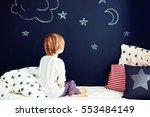 cute kid in pajamas dreaming  ... | Shutterstock . vector #553484149