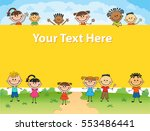 illustration of kids around... | Shutterstock .eps vector #553486441