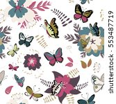 colorful butterflies and... | Shutterstock .eps vector #553487719