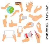 flat design of hand icons set.... | Shutterstock .eps vector #553487824
