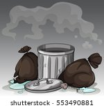 dirty trashcan and bags... | Shutterstock .eps vector #553490881