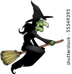 A Cartoon Witch Flying On A...